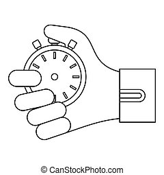 Stopwatch in hand icon, outline style - Stopwatch in hand...