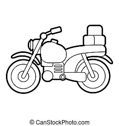 Motorcycle with boxes icon, outline style
