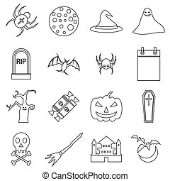 Haloween icons set, outline style - Haloween icons set....