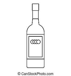 Russian vodka bottle icon, outline style - Russian vodka...