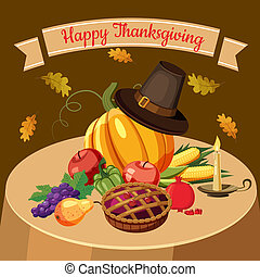 Thanksgiving Day concept, cartoon style - Thanksgiving Day...