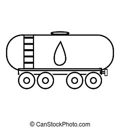 Waggon for gasoline icon, outline style - Waggon for...