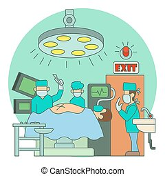 Surgical operation in hospital concept, flat style