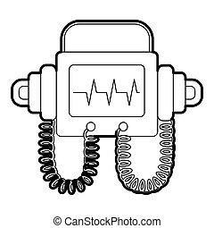 Defibrillator icon, outline style - Defibrillator icon....