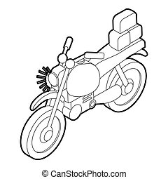 Motorcycle with cargo icon, isometric 3d style