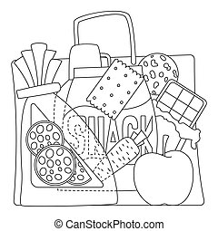 Bag with purchases icons set, outline style - Bag with...