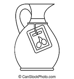 Glass jug icon, outline style - Glass jug with green olives...