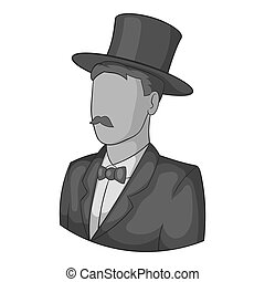 Male avatar in suit with hat icon. Gray monochrome...