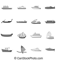 Ship and boat icons set, gray monochrome style - Ship and...