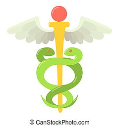 Sign medicine icon, flat style - Sign medicine icon. Flat...