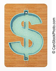 pool in the shape of a dollar sign 3d rendering