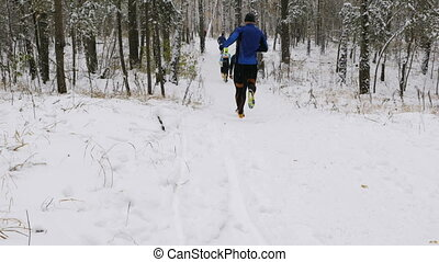 group of athletes runners run a winter marathon in a snowy...
