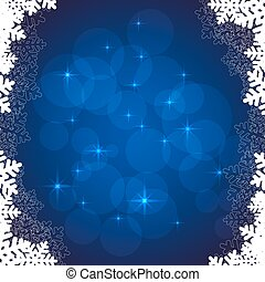 blue snowflakes frame - Merry Christmas or new year card on...