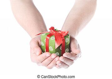 bianco, mani, isolato, regalo, presa a terra