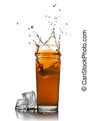 Beautiful splash of cola in glass and ice cubes isolated on...