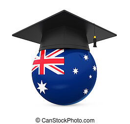 Graduation Cap with Australian Flag isolated on white...