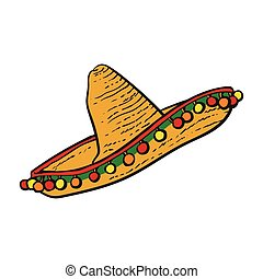 Traditional Mexican wide brimmed sombrero hat, sketch style...