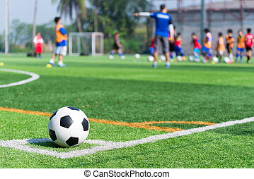 football in green grass with background Training children in...