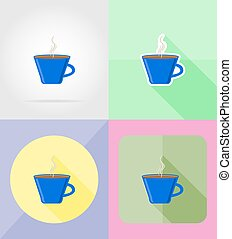 cup service flat icons vector illustration