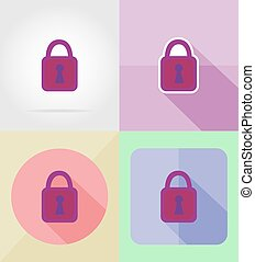 lock for design flat icons vector illustration