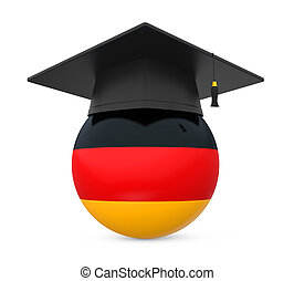 Graduation Cap with German Flag isolated on white...