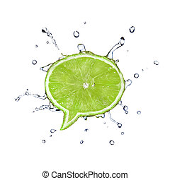 Lime in shape of dialog box with water drops isolated on...