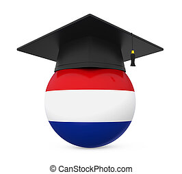 Graduation Cap with Netherlands Flag isolated on white...