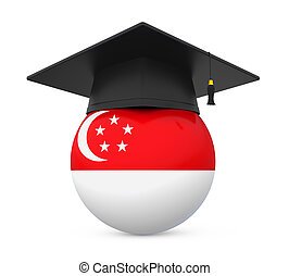 Graduation Cap with Singapore Flag isolated on white...