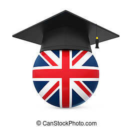 Graduation Cap with United Kingdom Flag isolated on white...