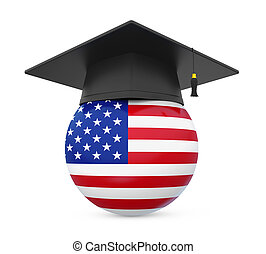 Graduation Cap with United States Flag isolated on white...