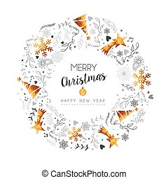 Christmas and New Year gold decoration wreath