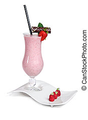 strawberry milkshake - strawberry milkshake isolated on...