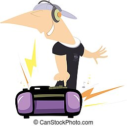 Loud music - Smiling man in headphones pressing a bottom on...
