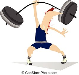 Weightlifter - Cartoon man lifting a heavy weight by one...