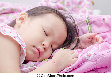 Little girl sleeping on bed and bite by mosquitoes - Little...