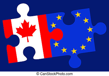 Europe and Canada Flag Puzzle Pieces