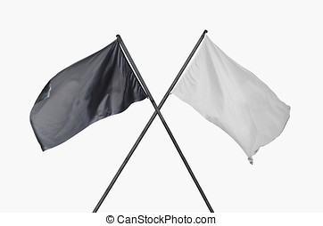 black and white flags crossed - Two blank and cleared black...