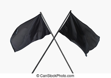 black flags crossed - Two blank and cleared black flags...