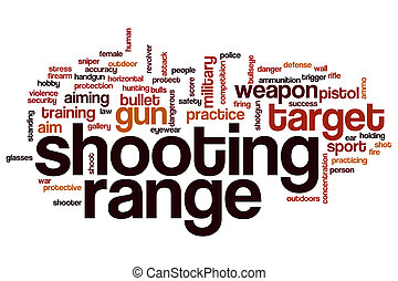 Shooting range word cloud concept