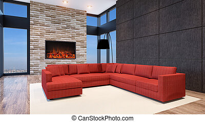Modern office. Interior living room. 3d render