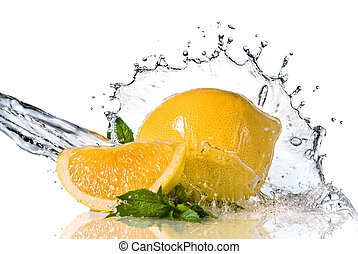 lemon  - Water splash on lemon with mint isolated on white