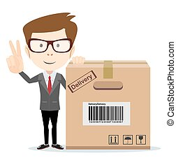 funny cartoon businessman in glasses with a cardboard box