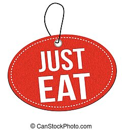 Just eat label or price tag - Just eat red leather label or...