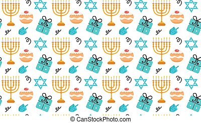Hanukkah seamless pattern. Hanukkah background with Menorah,...
