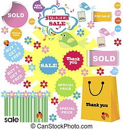 set of summer sale with shopping stickers