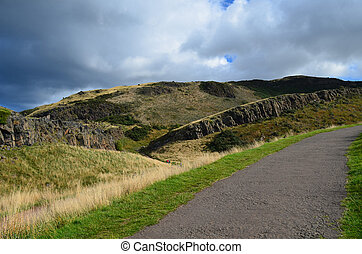Hillwalking Path at Arthur's Seat - Hillwalking stone path...
