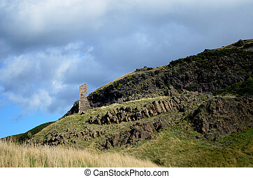 Anthony's Chapel as Seen at the Base of Arthur's Seat -...