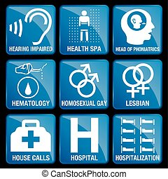 Set of Medical Icons in blue square background - HEARING...