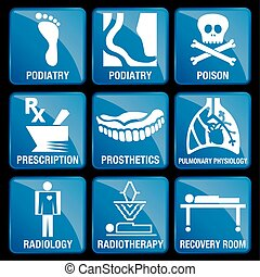 Set of Medical Icons in blue square background - PODIATRY,...