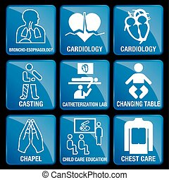 Set of Medical Icons in blue square background -...